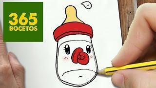 COMO DIBUJAR BIBERON KAWAII PASO A PASO - Dibujos kawaii faciles - How to draw a FEEDING BOTTLE