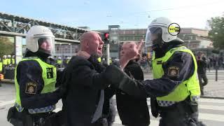 Motdemonstranter drabbade samman med polis utanför mässan.