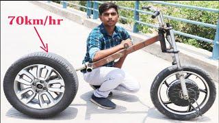 #1 araba tekerlek     kullanarak Çılgın elektrikli bisiklet nasıl