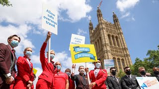 Travel workers hold protest in Westminster to call for easing of travel restrictions