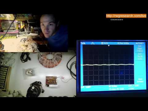 Rodin Coil Live Stream, Using A Microwave Inverter As A Driver.