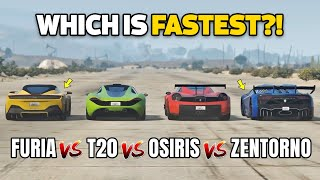 GTA 5 ONLINE - FURIA VS OSIRIS VS T20 VS ZENTORNO (WHICH IS FASTEST?)