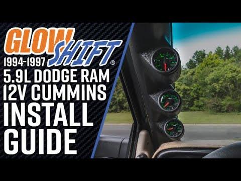 GlowShift | How To Install A 1994-1997 Dodge Ram 5.9L 12 Valve Cummins Triple Gauge Package
