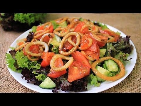 Вкусный салат из кальмаров Вкусный овощной салат рецепт Простой салат из кальмаров без регистрации и смс