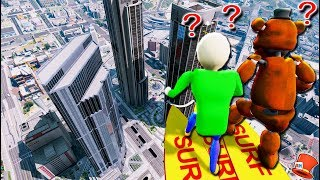 GUESS IF WITHERED FREDDY & BUFF BALDI'S WILL JUMP OFF THE TALLEST SKYSCRAPER! (GTA 5 Mods FNAF)
