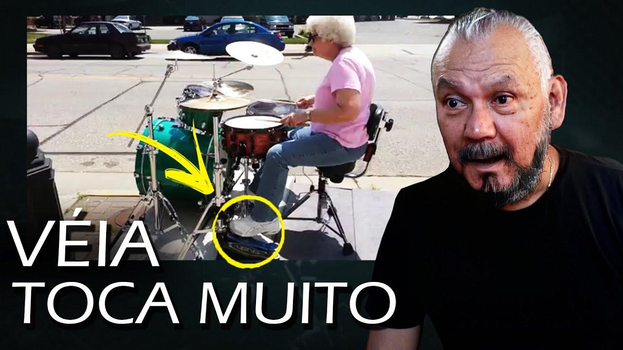 A Velhinha QUEBROU tudo na BATERIA!!! Os bateristas mais velhos do mundo