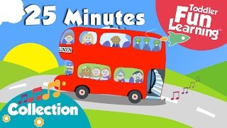 wheels on the bus more toddler songs   nursery rhymes collection   toddler fun learning