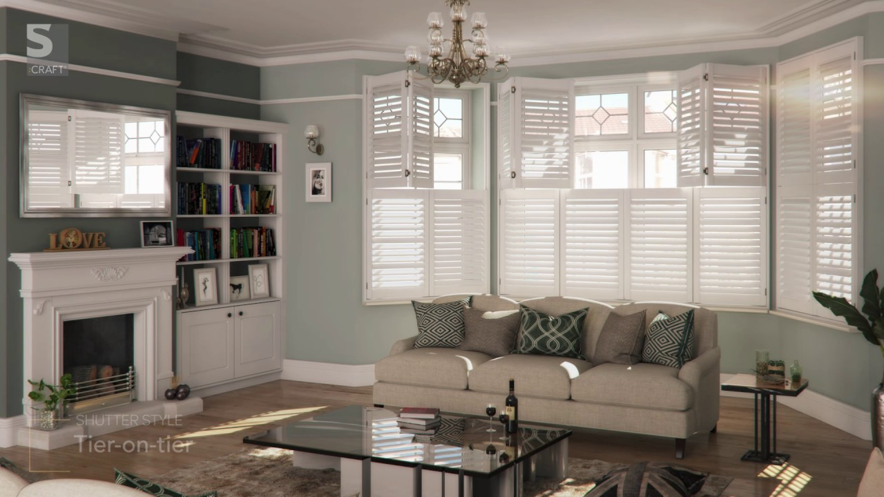 Living Room Plantation Shutters from SCRAFT  YouTube