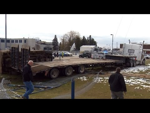 Semi-truck collision hits tower cable on CTV Edmonton lot