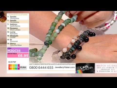 Shocking Pink Pearls and Turquoise for jewellery making:JewelleryMaker late show LIVE 23/07/2014