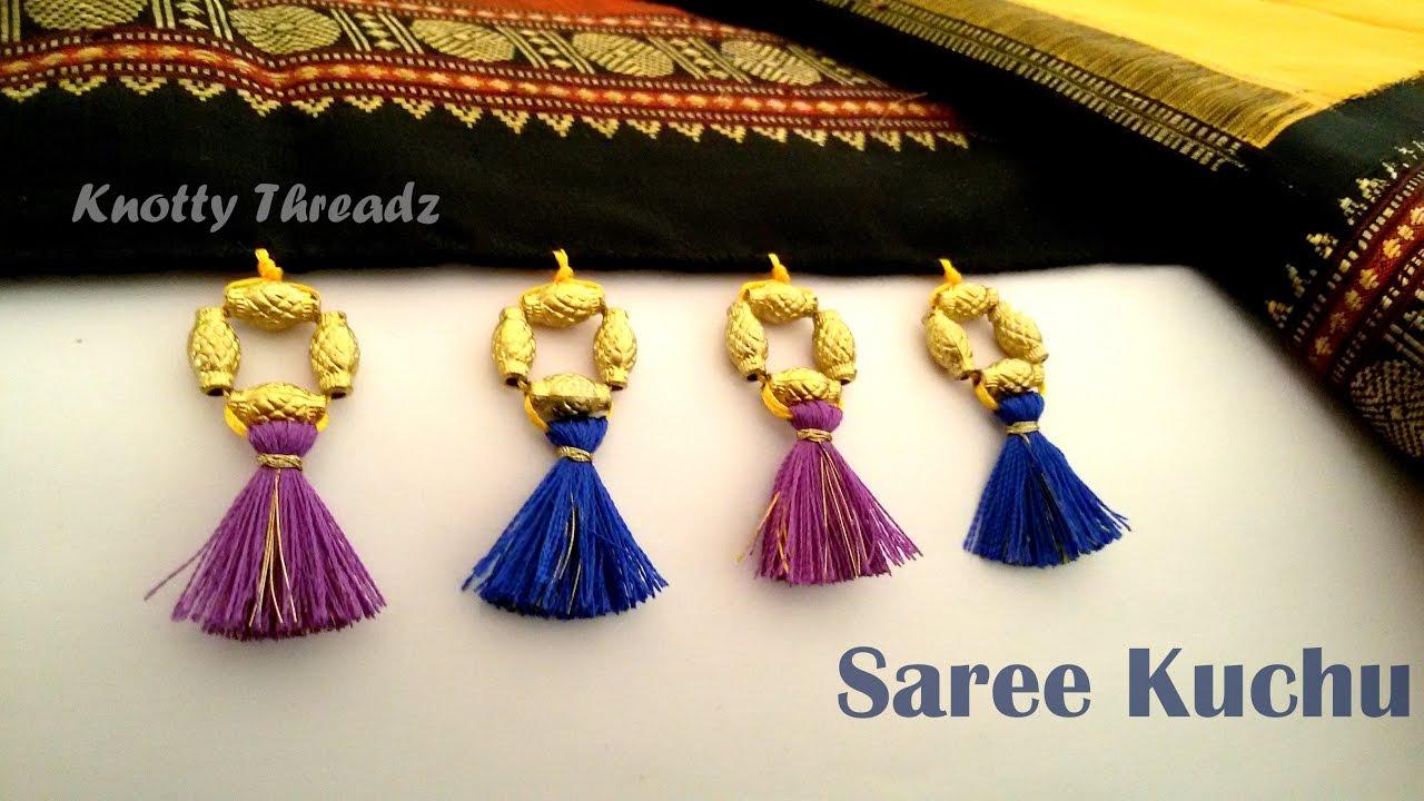 How To Make Saree Kuchu Tassels Design Using Silk Thread Beaded Design 2 At Home Tutorial