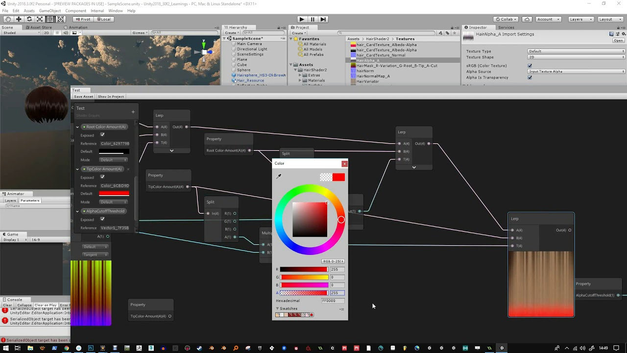 Hair Shader - HDRP - Making the shader in ShaderGraph - Unity 2018