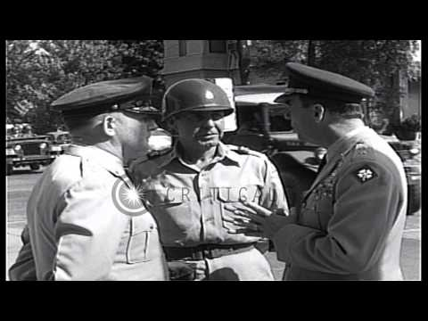 Soldiers escort African American students to Central High School as Edwin Walker,...HD Stock Footage