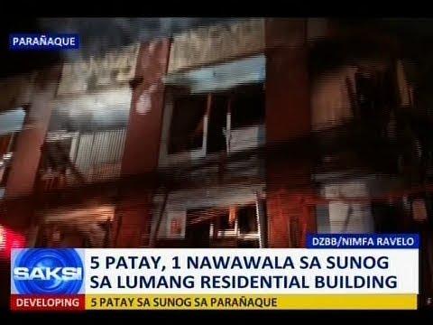 Saksi: 5 patay, 1 nawawala sa sunog sa lumang residential building
