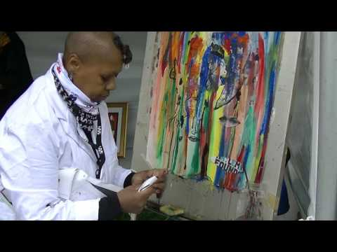 Live Harlem EatUp Aleathia collag painting the program into the art May 20 2017