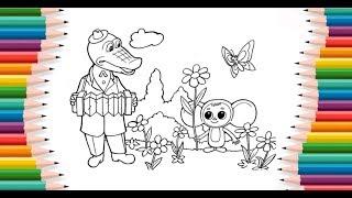 Крокодил Гена и Чебурашка. Союзмультфильм. Мультик-раскраска. Учим цвета.