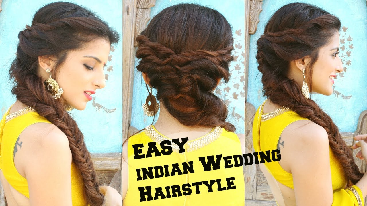 wedding hairstyle for medium to long hair | fishtail braid hairstyle for indian wedding occassions