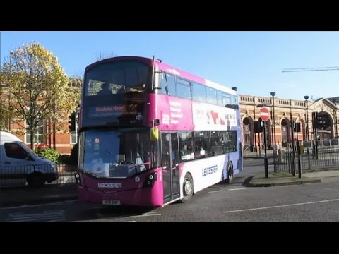 Buses & Trains at Nottingham, Leicester, Peterborough & Grantham on a round trip