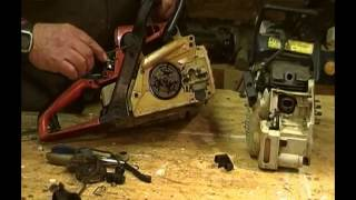 Stihl 017& 018 repair to bar oiling system, showing oil pump feed and oil tank removal.