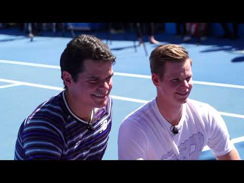 Milos Raonic and Steve Smith take to the courts of Melbourne Park