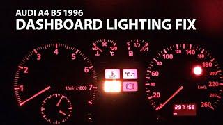 Audi A4 B5 1996 dashboard lighting fix/ panel bulb replacement / Замена лампочек на панели приборов