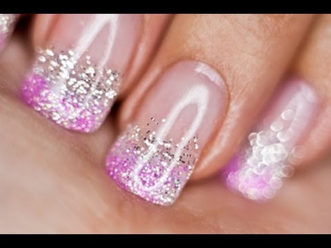 Silver And Pink Glitter Nails Uv Gel Youtube