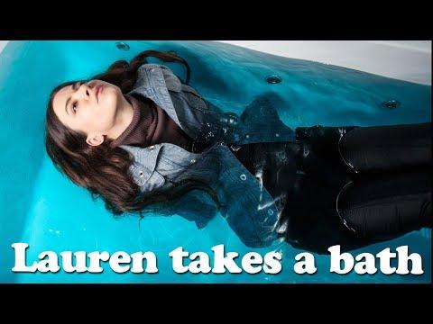 Lauren takes a bath