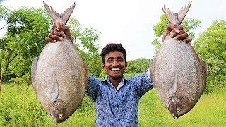 2 BIG BLACK POMFRET CURRY MAKING IN WILD | FISH CURRY RECIPE |