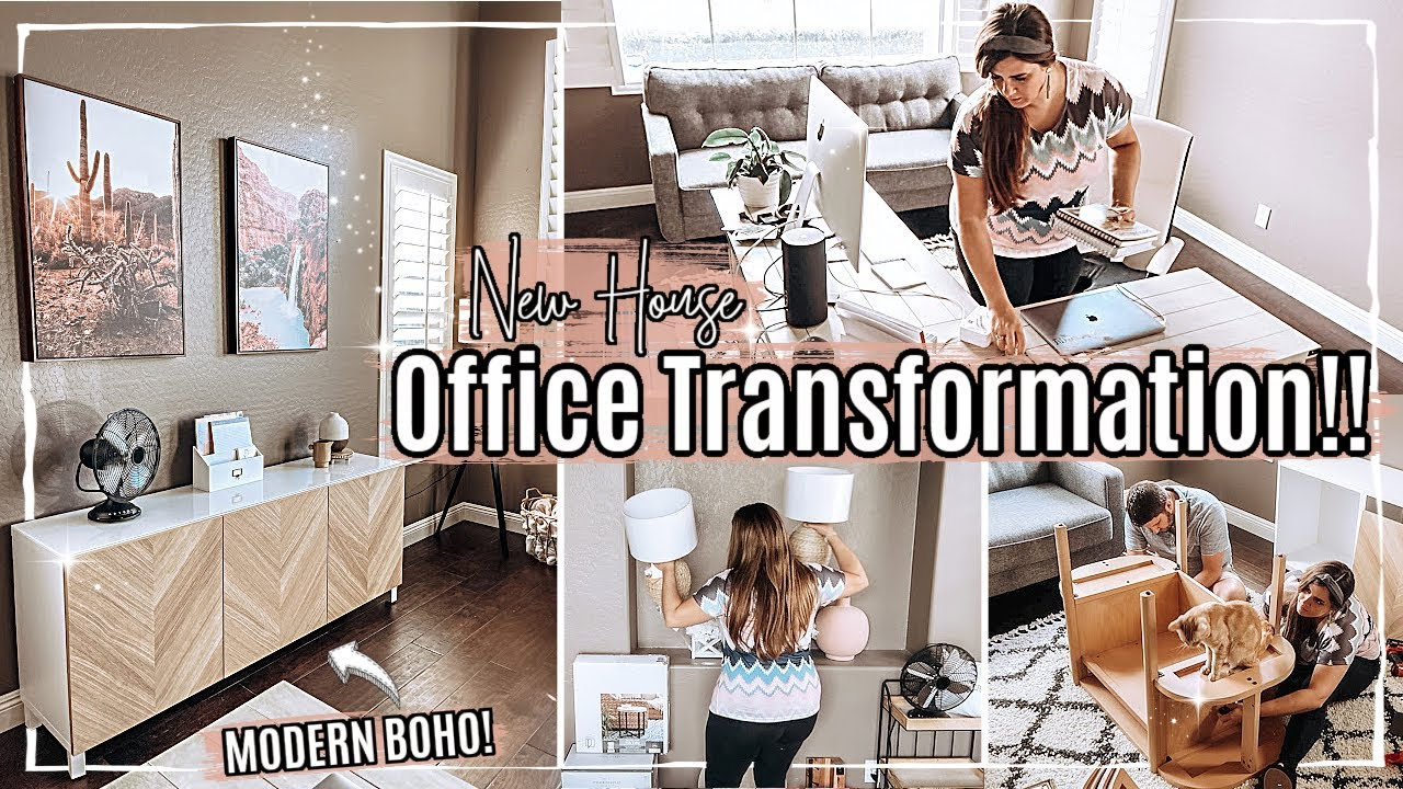 ☀️ HOME OFFICE MAKEOVER 2021 part 1 :: MODERN BOHO HOME OFFICE IDEAS :: Room Transformation