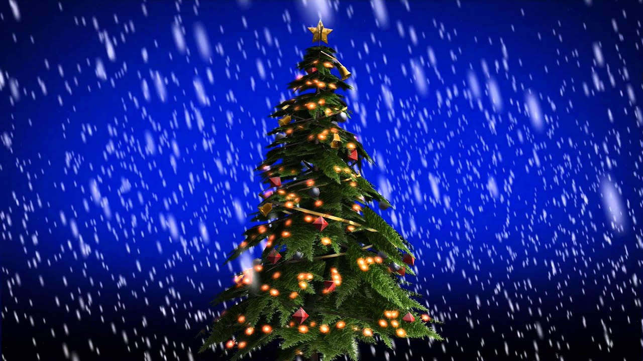 beautiful Christmas Snow falling on christmas tree  free