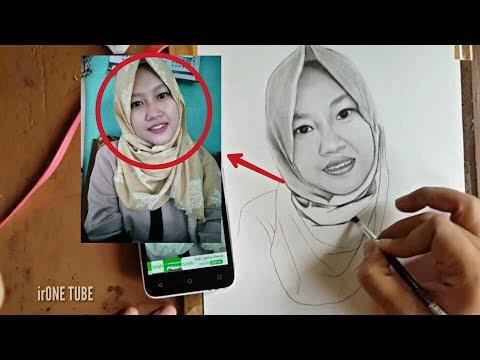 sketsa wajah realis wanita idaman