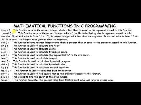 Mathematical functions in c || Explained in Hindi