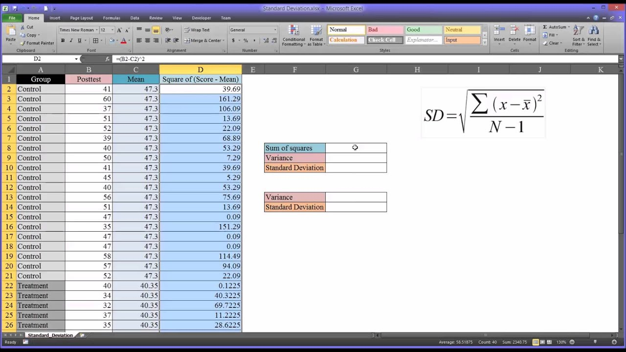Calculating the standard deviation in excel youtube calculating the standard deviation in excel ccuart Image collections