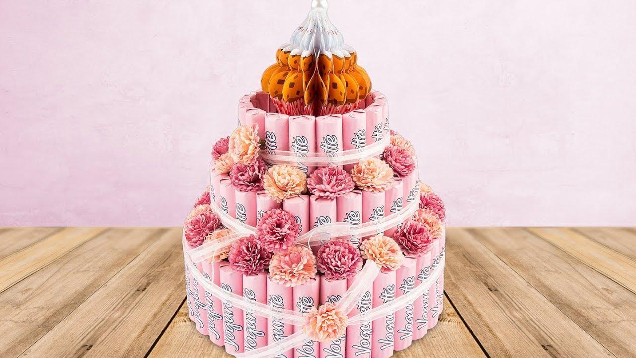 Ideen Mit Herz Schokoriegel Torte Aus Styropor Zum Geburtstag Basteln Diy Candy Bar Cake