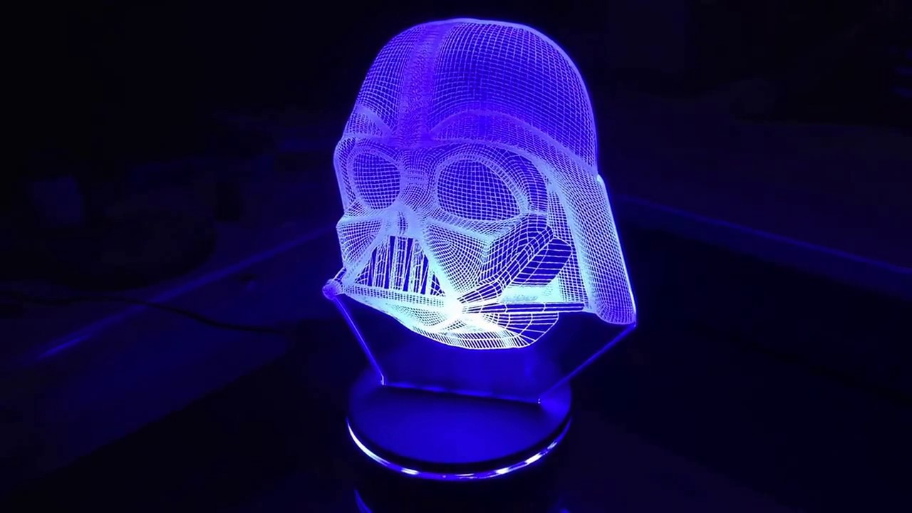 Lampara Led 3d Star Wars Wireframe Youtube