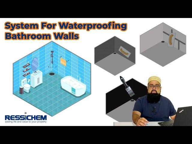 System for the waterproofing of bathroom walls. | Ressichem #Waterproofing #bathroom #leakproof