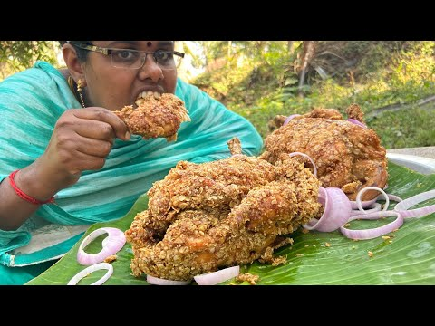 Whole KFC Chicken / Full KFC Chicken / Cooking And Eating By Girl In Village / Food Money Food