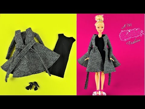DIY Barbie Winter coat with black evening dress - Barbie Fashion Clothes Tutorial for kids Girls