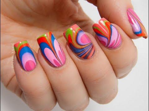 Diseños de Uñas Marmoleadas   Nail Art - YouTube