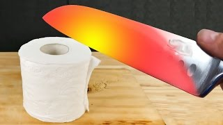 EXPERIMENT Glowing 1000 degree KNIFE VS TOILET PAPER !! - EXPERIMENT AT HOME