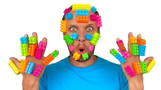 LEGO stuck to my dad's face / lego hands