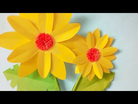 How To Make A Paper Flower Tutorial Sunflower Paper Craft Youtube