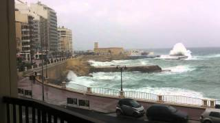 Biggest Waves Ever Sliema Malta March 2013