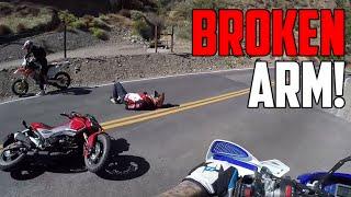 Motorcyclist CRASHES HARD! (Broken Arm)