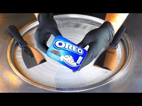 ASMR - OREO Ice Cream Rolls | how to make fried rolled Ice Cream with Oreo Yogurt and Cookies | Food