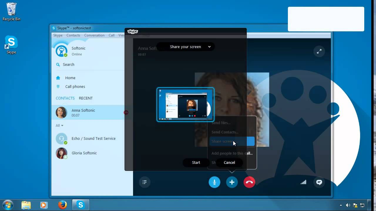 screen share with audio skype