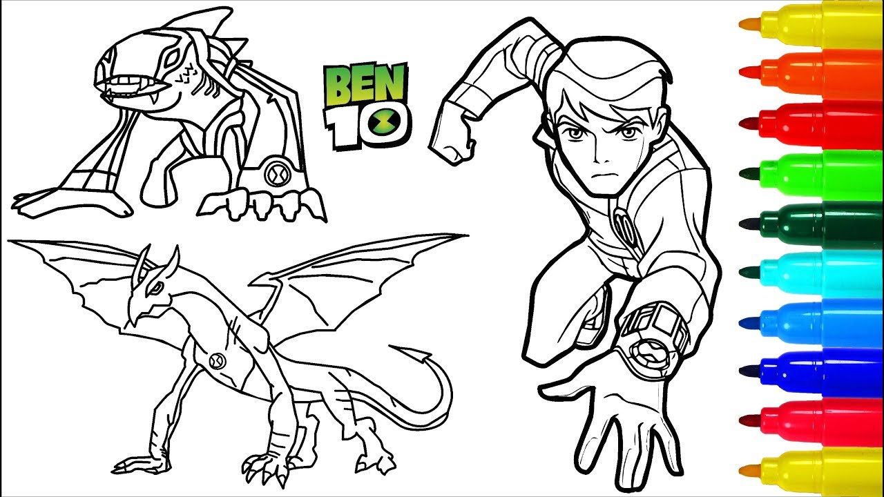BEN 10 Coloring Pages # 3 | Colouring Pages for Kids with Colored ...