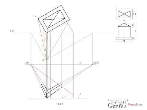 Engineering Drawing Tutorials/Perspective drawings with front and side view (T 3.4)