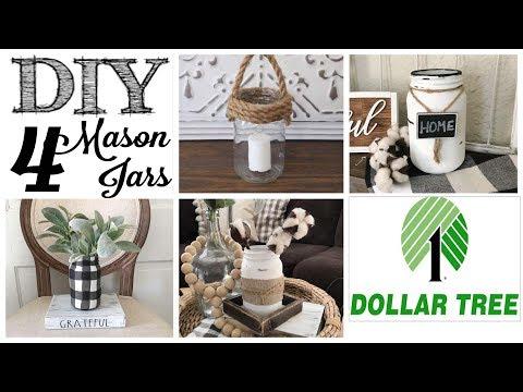 DIY Dollar Tree Mason Jars | 4 WAYS