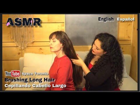 ASMR│Brushing Long Hair │Cepillando Cabello Largo │English & Spanish │Inglés & Castellano